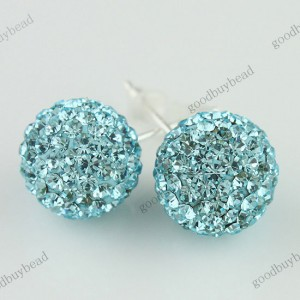 AUTHENTIC OCEAN BLUE CZECH CRYSTAL DISCO BALL 925 SILVER STUD EARRINGS 10MM