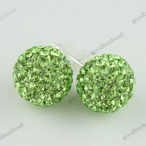 AUTHENTIC LIGHT GREEN CZECH CRYSTAL DISCO BALL 925 SILVER STUD EARRINGS 10MM