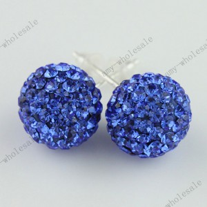 Sapphire 925 Silver Czech Crystal Fashion Disco Ball Stud Earrings 10mm