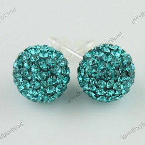 AUTHENTIC TURQUOISE CZECH CRYSTAL DISCO BALL 925 SILVER STUD EARRINGS 10MM