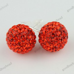 AUTHENTIC NACARAT CZECH CRYSTAL DISCO BALL 925 SILVER STUD EARRINGS 10MM