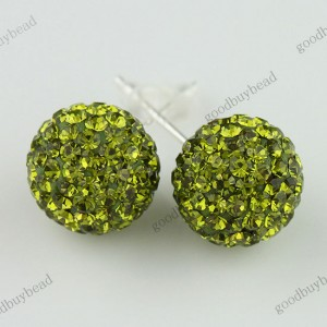 AUTHENTIC OLIVE CZECH CRYSTAL DISCO BALL 925 SILVER STUD EARRINGS 10MM